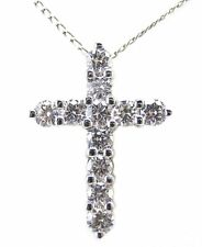 White Gold With 16 Inch Chain 1.10 Ct Diamond Cross Pendant 14 Kt