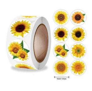 SUNFLOWER Stickers Labels Flower Craft Birthday Party Gifts 25mm 8 Designs