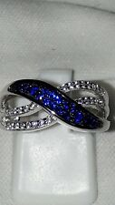 925 STERLING SILVER BLUE WHITE SAPPHIRE, DRESS RING  USA 8