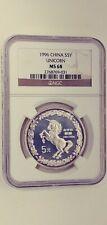 1996 China 5 Yuan silver Unicorn NGC MS68 very scarce coin