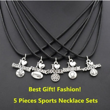 5pcs Football Soccer Baseball Volleyball Basketball Pendant Leather Necklace
