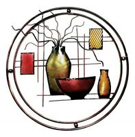 Wall Art Southwest Decor Vase Bowl Abstract Design Metal Hanging Sculpture GIFT
