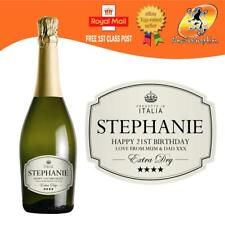 PERSONALISED PROSECCO CREAM BOTTLE LABEL BIRTHDAY WEDDING ANY OCCASION