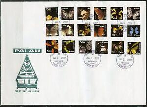 PALAU  2007 BUTTERFLIES SET EIGHTEEN ON FIRST DAY COVER