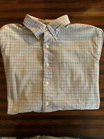 Brooks Brothers Mens Sport Shirt Red White Blue Check Seersucker Button Size L