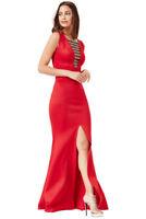 New Goddiva Red Embellished Maxi Split Detail Ball Prom Party Eve Dress (8-14)