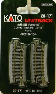 """NEW N Kato #20-171 Unitrack 8 1/2""""r R216-15 Curved Track 4 Pieces"""