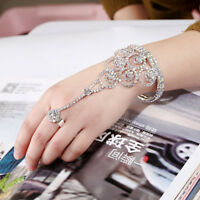 Bangle Hand Chain Open Bracelet Attached To Ring Rhinestone Jewelry Wedding
