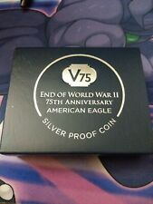 New listing End of World War Ii 75th Anniversary American Eagle Silver Proof Coin In Hand