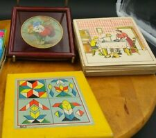 LOT JEUX éducatifs anciens Puzzle Bois Cartons heures Sous verre peint