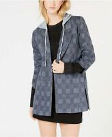 Almost Famous Juniors' Plaid Ruched Sleeve Hoodie Jacket / Blazer Size S