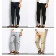 Pantalones Casuales Largos Para Hombres Pantalón De Moda Color Sólido Elásticos