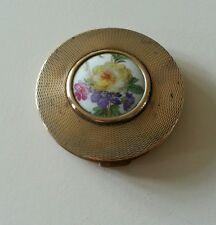 Vintage Gilt Guilloche powder Compact with Porcelain cartoosh