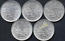 5 Of France 5 Franc Coins 1971 1972 1973 1974 & 1975