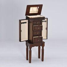 Depot Lovely Jewelry Armoire Storage Cabinet Drawers w/ Flip Top Mirror Walnut