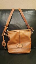 Vintage Fossil Bucket Bag Maddox Key Brown Leather Crossbody Purse Adj. Strap