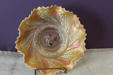 """VINTAGE DUGAN OPALESCENT PEACH CARNIVAL GLASS 'ROUNDUP' 9"""" BOWL"""