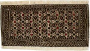 Vintage Cream/Khaki Tribal Hand-Knotted 2X3 Oriental Rug Farmhouse Décor Carpet