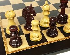 "BLOOD ROSEWOOD GREEK BRIDLED 4 3/8"" K Large Staunton Chess Set 20"" Ebony Board"