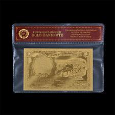 """Malaya & British Borneo $10  """" Buffalo """" 24K Gold Plated Banknote"""