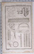 1788 ORIGINAL PRINT SURVEYING VARIOUS DIAGRAMS QUADRANT CARPENTERS RULE PLOTTING