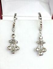 18k Solid White Gold Cute Ball Dangle Hoop Earrings, Diamond Cut 1.90Grams