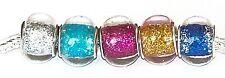 Rainbow Glitter Set Of 5 Glass Bead Charms European Bracelet Necklace Jewellery