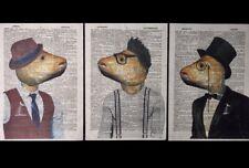 3 X impresiones de cabeza de pescado Vintage Diccionario página Pared Arte Animal de fotos en ropa