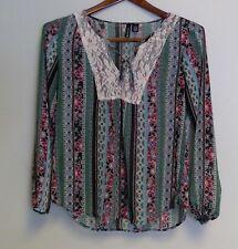 Full TIlt Women's Long Sleeve Blouse, Geometric & Floral print, Size M