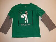 New Gymboree Magician Skater Double Sleeve Tee Top 5 Year Mr. Magician Boys