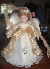 PORCELAIN ANGEL DOLL BY COLLECTIONS ETC. DATE 2003 REAL FEATHER WINGS !