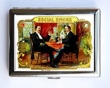 Social Smoke Cigarette Case Wallet Business Card vintage cigar label mustache
