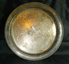 Vintage W.M. Rogers Silver Plated Serving Tray Detailed Etchings UNPOLISHED 172