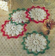 Crochet Pattern ~ CHRISTMAS SNOWFLAKE COASTERS ~ Instructions