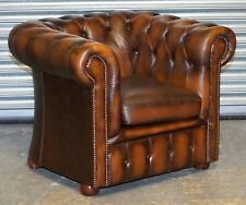 LOVELY BROWN LEATHER CHESTERFIELD ARMCHAIR