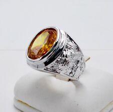 Men Ring Yellow Sapphire 18K White Gold Filled Gp Gems Stone Dragon Carve Size 8