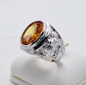 MEN RING YELLOW SAPPHIRE 18K WHITE GOLD FILLED GP GEMS STONE DRAGON SIZE 6.75