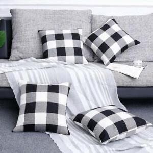 Set of 4 Farmhouse Buffalo Checkers Plaid Cotton Throw Pillow Covers Home Decor