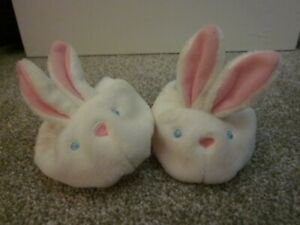 Build A Bear PJs Shoes~Fluffy White Bunny Slippers~Pink Nose~Embroider Blue Eyes