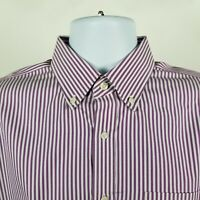 Nordstrom Trim Fit Wrinkle Free Purple White Striped Dress Shirt Size 15.5 32/33