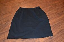 J1- Black 100% Worsted Wool Skirt Size 10