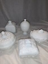 Hobnail Milk Glass 10 Pcs Dish Set