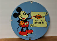 VINTAGE PORCELAIN SIGN MICKEY MOUSE DISNEY GAS OIL SUNOCO PUMP PLATE STATION