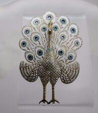 Vintage Gilt Sterling Silver & Enamel Peacock Pin Brooch