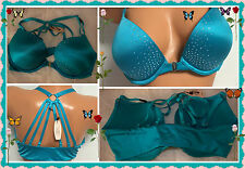 $63 34D Aqua Very Sexy BLING Frt Close Victorias Secret Strappy Back Pushup Bra