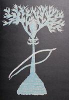 RAM SINGH URVETI - Tree of song. Siebdruck auf schwarzen Katon. Gond Art