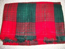 Tablecloths & Runners Holiday Poinsettia, Red & Plaid Cloth, Linens (#3007)
