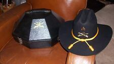 BLACK COWBOY HAT BUFFALO SOLDIERS 10TH CAV MOUNTED COLOR GUARD US ARMY CASE SZ S