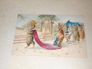 EARLY  1900s POSTCARD - ANTHROPOMORPHIC RABBITS - ROYALTY THEME