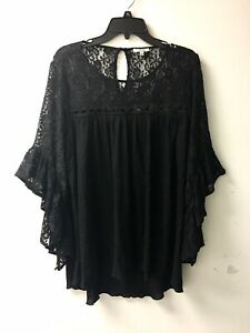 Jodifl Black Peasant Bohemian Hippie Top Blouse Sz L Lace Ruffled Sleeves